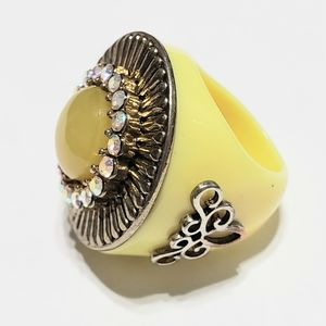 Yellow Ring with Bling size 7
